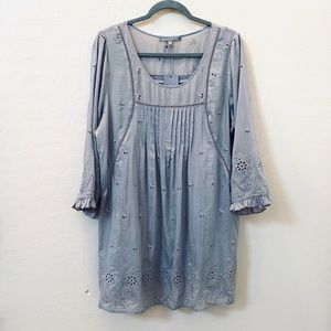 Daniel Rainn Gray Eyelet Tunic Top